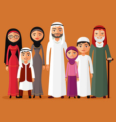 Arab family muslim people big family vector