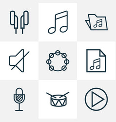 Audio icons line style set with tambourine drum vector
