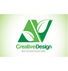 Av green leaf letter design logo eco bio leaf vector