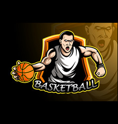 Basketball player sport logo design vector
