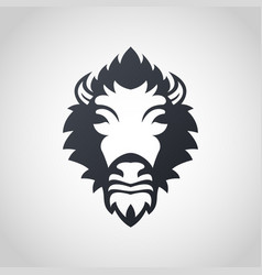 bison logo icon design vector image