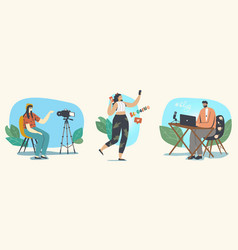 bloggers profession vlogging in social media vector image