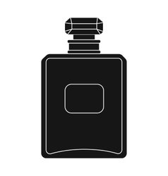 Bottle of french perfume icon in black style vector