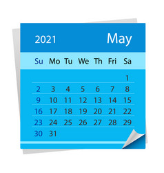 Calendar sheet on month may 2021 vector