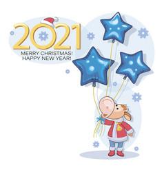 calf bull new year 2021 merry christmas vector image