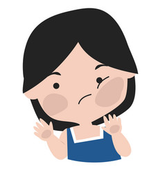 Cartoon girl emotion face vector