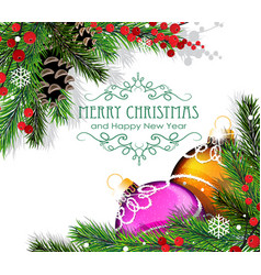 christmas wreath with cones and baubles vector image