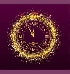 Clock face golden dial watch show midnight vector