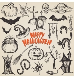 Collection of sketch Halloween characters vector