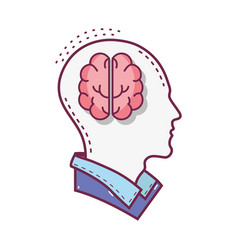 color silhouette head with brain inside vector image