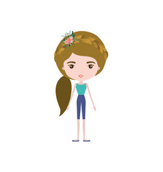 Colorful caricature skinny woman in clothes with vector