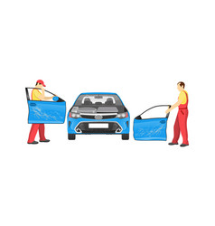 Crashed auto in repair workshop colorful banner vector
