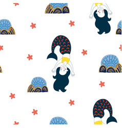cute cartoon style mermaid seamless pattern vector image