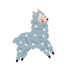 cute llama adorable happy alpaca animal character vector image