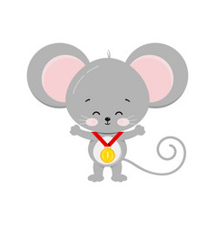 Cute mouse with gold medal isolated on white vector