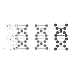 Decomposed pixel halftone dna icon vector