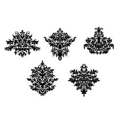 Decorative elements of damask pattern vector image