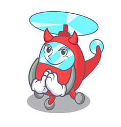 Devil helicopter mascot cartoon style vector