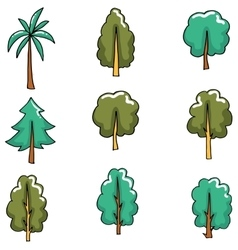 Doodle of flat tree set vector image