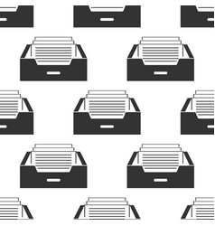 drawer with documents icon seamless pattern vector image