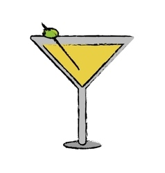 Drawing glass cocktail martini with olive vector