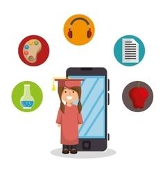 Education online student smartphone design vector