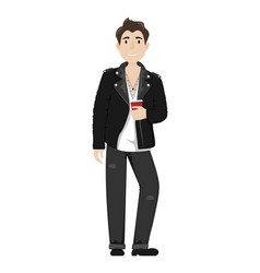 fashionable young guy in a leather biker jacket vector image
