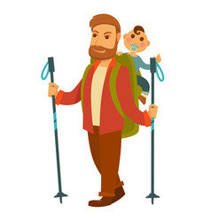 Father goes hiking with baby son and huge backpack vector