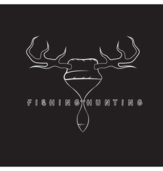 Fishing and hunting concept with hathorns and fish vector