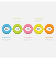 Five step Timeline Infographic Colorful circles vector