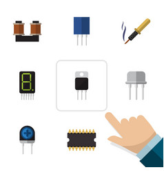 flat icon technology set of coil copper repair vector image