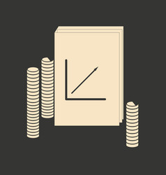 Flat in black white report and stack coins vector