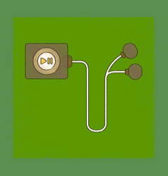 Flat shading style icon player with headphones vector