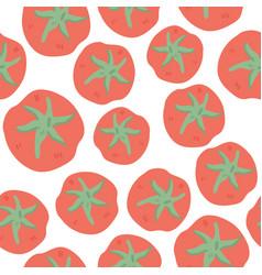 Fresh tomatoes hand drawn seamless pattern vector
