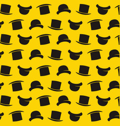 Gentleman pattern with bowler hat cartoon style vector