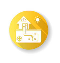 Geothermal heating and cooling system yellow flat vector