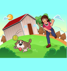 Girl playing with her dog vector