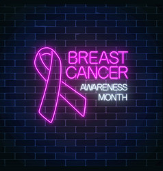 Glowing neon sign of breast canser awareness vector