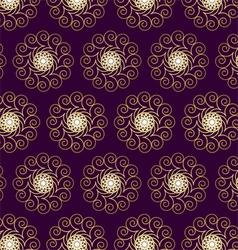Gold Flower and Swirl Pattern on Dark Purple vector