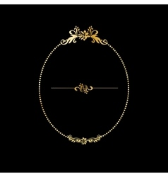 Golden calligraphic design oval frame on the black vector