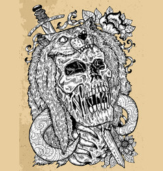 Grunge with scary skull beast vector