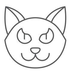 halloween cat thin line icon animal and magic vector image