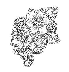 Hand-Drawn Abstract Henna Mehndi Flower Ornament vector