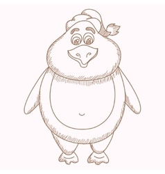 Hand drawn penguin pencil drawing of fatty vector