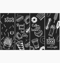 hand drawn street food banners set fast food vector image