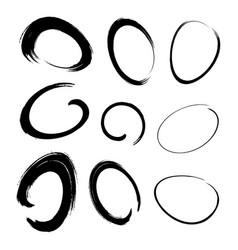 Hand drawn watercolor circle brush stroke set vector