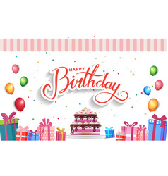 Happy birthday design with birthday gift box cake vector