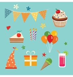 happy birthday party set vector image