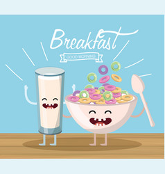 Happy milk glass with cereal cupl and spoon vector