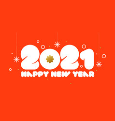 happy new year 2021 design with golden snowflake vector image